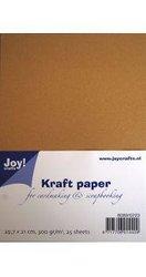 Kraft karton/papier 300 grams 30.5 x 30.5 cm inhoud 20 vel bruin