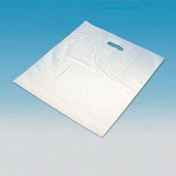 Draagtas plastic 65 x 50 + 2 x 5 cm inhoud 50 stuks wit
