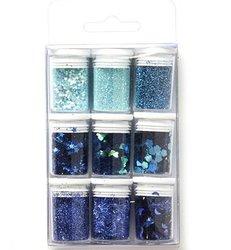 Glitterset blauw 9 buisjes p/set