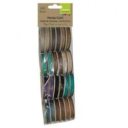 Hemp cord assortiment 12x2 1m dark colours 1 mm inhoud 40 meter