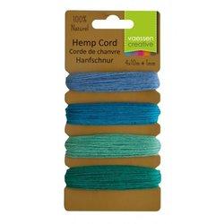 Hemp cord Assortiment 4 kleuren 1 mm inhoud 40 meter blauw/groen