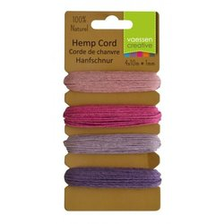 Hemp cord Assortiment 4 kleuren 1 mm inhoud 40 meter paars