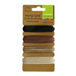 Hemp cord Assortiment 4 kleuren basic 1 mm inhoud 40 meter