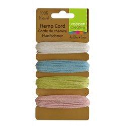 Hemp cord Assortiment 4 kleuren spring 1 mm inhoud 40 meter