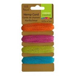 Hemp cord Assortiment 4 kleuren summer 1 mm inhoud 40 meter