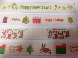 Lint kerst rendier en cadeau groen  15 mm per meter creme