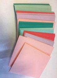 Envelop 8.1x11.4cm p/18st Roze/zeegroen met kaartje A7/C7