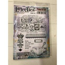 Rubber stamp cosy A5 Eclectica thee postzegels  per stuk