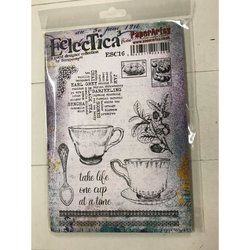 Rubber stamp cosy A5 Eclectica theekopjes  per stuk