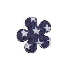 Apllicatie bloemen ster  25 mm inhoud 4 stuks donkerblauw