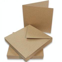 Card & Envelop bruin 12.7x12.7cm p/10st