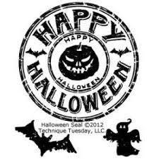 Clear stamp halloween rond  4.5 cm per stuk