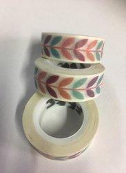 Masking tape blaadjes 15mm p/10m wit/gekleurd