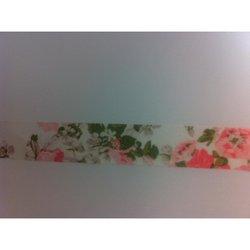 Masking tape bloem 15mm p/10m roze/groen