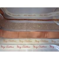 Lint merry christmas rood geschreven  15 mm inhoud 15 meter creme/rood