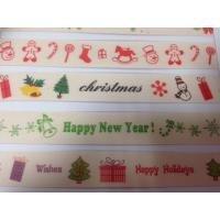 Lint kerst happy newyear en merry christmas  15 mm per meter creme/groen