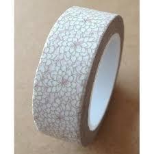Masking tape bloem 15mm p/10m wit/grijs