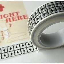 Masking tape 2 rijen sterren 15mm p/10m wit/zwart