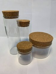 Glazen tube 4.5x10cm p/st transparant met kurk