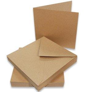 Enveloppen met kaart 15x15cm p/10st bruin