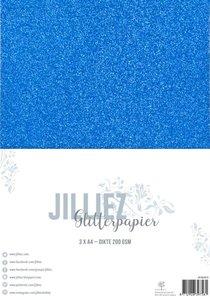 Glitterpapier helblauw A4 p/3vel