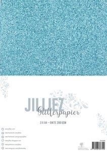 Glitterpapier ijsblauw A4 p/3vel