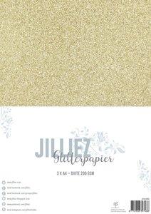 Glitterpapier goud A4 p/3vel