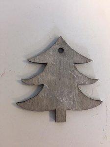 Hanger Kerstboom grijs 5cm p/10st houten
