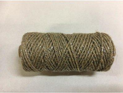 Jute flaxcord deluxe 2 mm inhoud 50 meter zilver