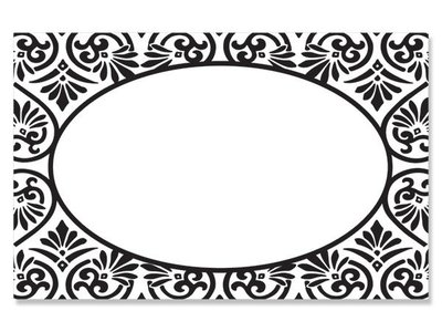 Kadolabels elegant ovaal 5.7 x 8.9 cm inhoud 5 stuks zwart
