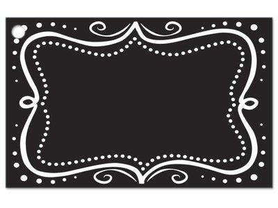 Kadolabels met witte rand 5.7 x 8.9 cm inhoud 5 stuks zwart