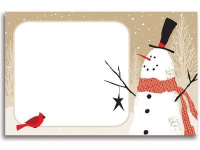 Kadolabels sneeuwpop 5.7 x 8.9 cm inhoud 5 stuks