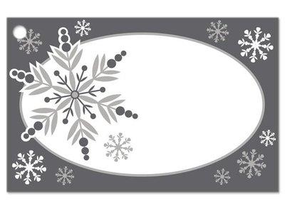 Kadolabels sneeuwvlokken ovaal 5.7 x 8.9 cm inhoud 5 stuks