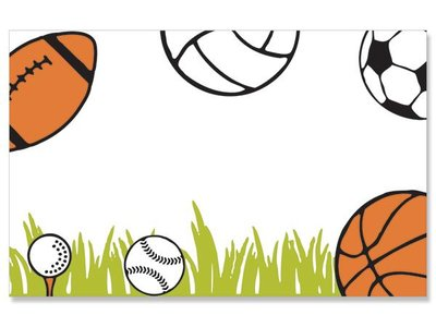 Kadolabels sportballen 5.7 x 8.9 cm inhoud 5 stuks