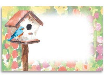 Kadolabels vogelhuisje 5.7 x 8.9 cm inhoud 5 stuks