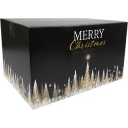 Kerstpakketdoos Golden Tree Karton Kerstmis 39 x 29 x 23.2 cm  zwart