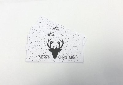 Labels wit/zwart 70x35mm p/5st papier merry christmas hert