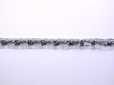 Lint roezel donkergrijs stip 19mm p/mtr organza/satijn