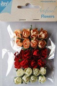 Bloemen 1 - 2 cm inhoud 24 stuks lichtroze/rood/wit