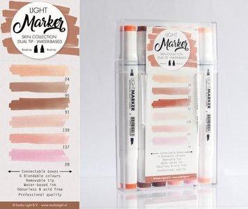 Box 6 water based dual tip markers skin  per set