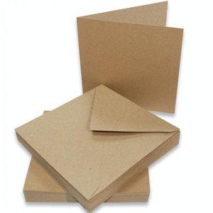 Cards & Envelopes 12.7 x 12.7 cm inhoud 10 stuks bruin