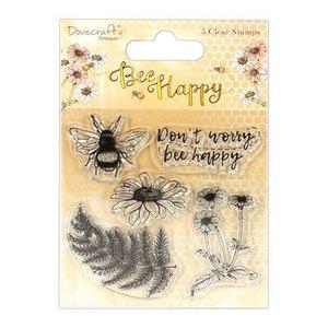 Clear stamp Bee Happy inhoud 5 stuks