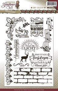 Clear stamp Christmas Greetings Tekst  per stuk
