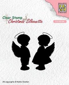 Clear stamp Christmas Silhouette engelen jongen meisje   per stuk