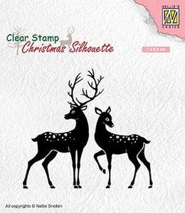 Clear stamp Christmas Silhouette rendieren 70 x 65 mm per stuk