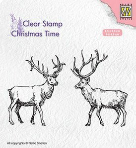 Clear stamp Christmas time twee rendieren 45 x 55 mm per stuk