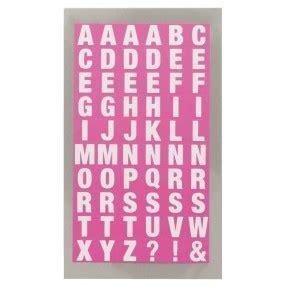 Stickers ABC vierkant 0.9 x 1 cm inhoud 60 stuks roze