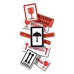 Stickers BREEKBAAR 134 x 50 mm inhoud 500 stuks wit/rood