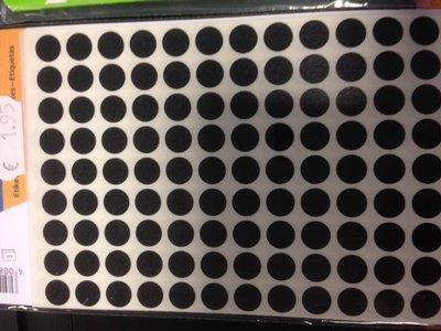 Stickers rond 8 mm inhoud 540 stuks zwart