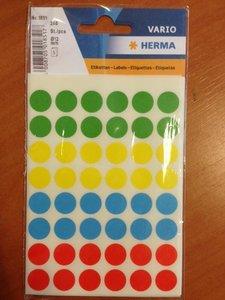 Stickers rond 12 mm inhoud 240 stuks diverse kleuren